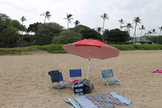 Hapuna Beach: Rented umbrella for about $8 on site.