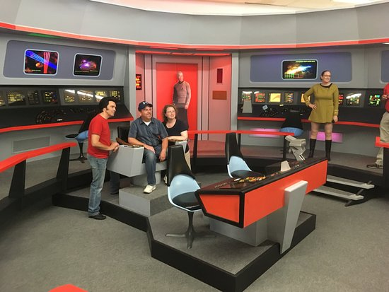 Ticonderoga, NY: Fans on the exact recreation of the U.S.S. Enterprise bridge set.