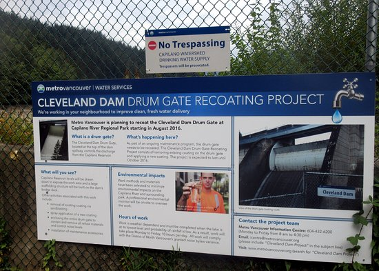Kuzey Vancouver, Kanada: Information On Refurbishment of Cleveland Dam, North Vancouver, British Columbia