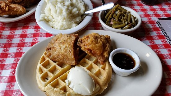 Independence, MO: Waffles and chicken. Look at the tiny, flavorless thighs.