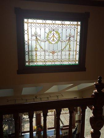 View from second floor balcony overlooking the breakfast area.