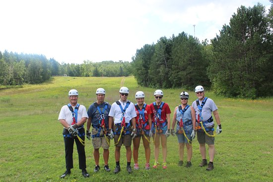 Nisswa, MN: Our group...harnessed and ready to go.