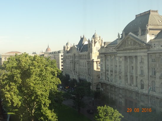 Sofitel Budapest Chain Bridge: Pest side view from the room with Parliament dome.