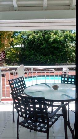 Shamrock: La terrasse avec vue sur le jardin et la piscine