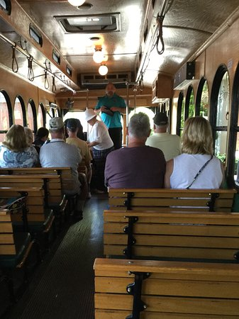 St. Louis Fun Trolley Tours : A view from the back of the trolley as we were about to leave the boarding area.