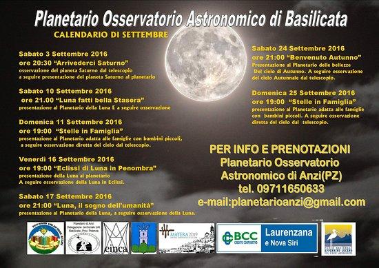 Planetario Osservatorio Astronomico Anzi : Calendario eventi mese di Settembre presso il Planetario osservatorio Astronomico di Basilicata