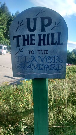 Waterbury, VT: Flavour Graveyard sign 1