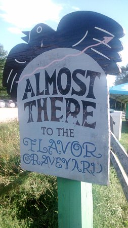 Waterbury, VT: Flavour Graveyard sign 2