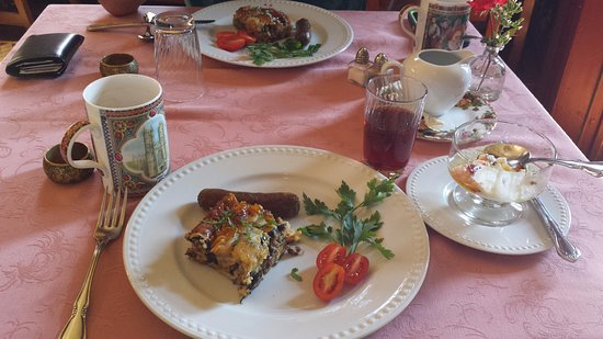 Mooring B&B: First morning breakfast; prior to this yummy hot dish we had fresh fruit and a baked treat