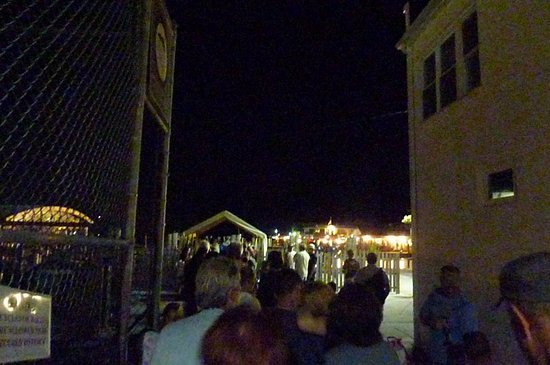 Ocean Beach, NY: A night time departure at the ferry. About a 30 minute ride back to the ferry port on Long Islan