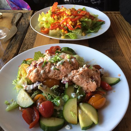 Warm Tuna salad (special) Front; Maque Choux in the rear