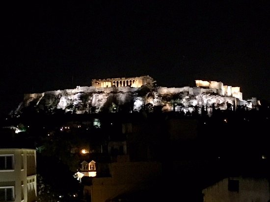 O&B Athens Boutique Hotel: night time view from the balcony