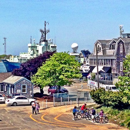 The Woods Hole Inn is across the street from the Martha's Vineyard ferry terminal.