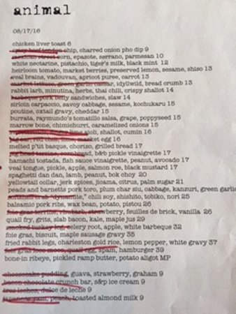 menu - dishes with eggs scratched out. due to my allergy
