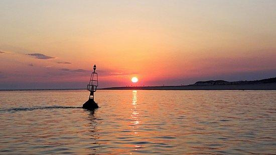 Arrivée à la pointe au coucher du soleil
