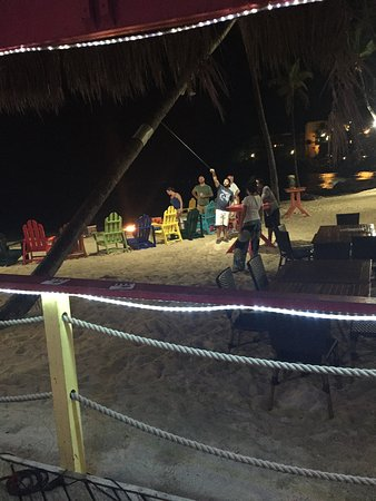 Bolongo Bay, St. Thomas: Playing games on the Beach at Iggies. Campfires on the Beach. Fun atmosphere.
