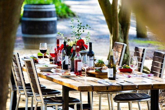 Red Shed Restaurant: long table in the Olive Grove