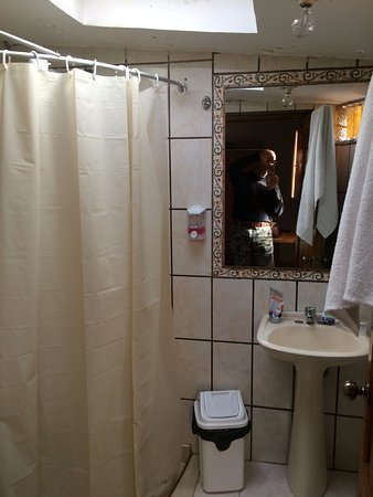 La Posada del Viajero Hostal: Restroom. Previous guests' hairs on the floor prevent from feeling the place is clean