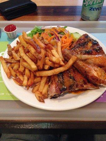 Poulet portugais: 2 muslos de pollo.
