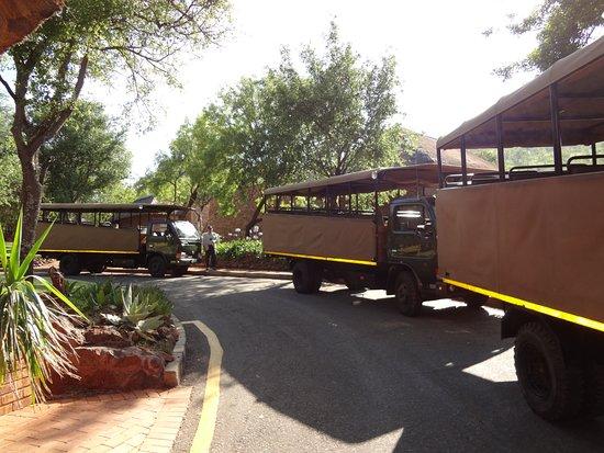 Bakubung Bush Lodge: los camiones para el safari están prontos para salir