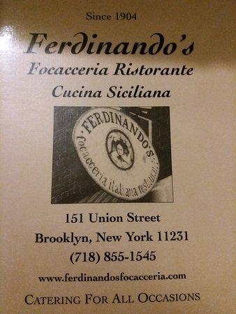 Ferdinando's Focacceria: Carta