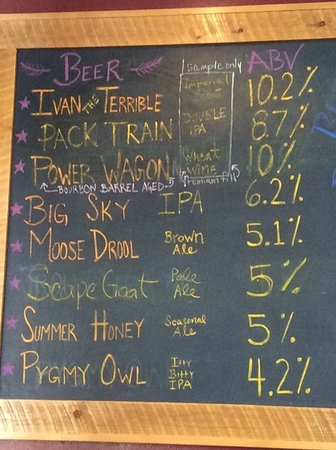 Big Sky Brewing: Options for tastings the day we visited