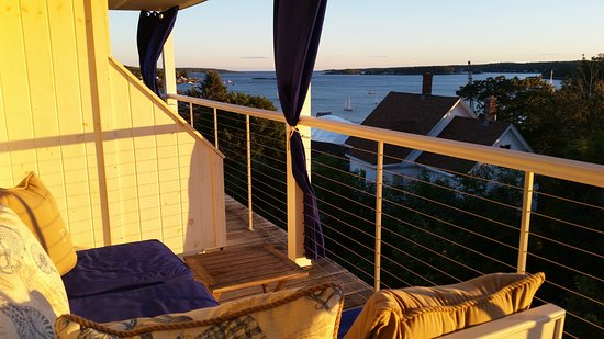 Topside Inn: Room 15 back porch and view at sunset