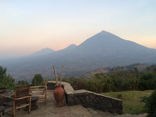 Virunga Lodge: View from main lodge patio with volcanoes in background
