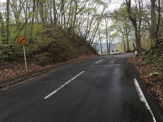 Kandodai: 旧カンコダイへの入口です。黄色の道路標識のところにフットパスがあります。十メートル前に十和田湖が望める一台分の駐車スペースがあります。