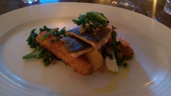 Driftwood Brasserie: Pan Fried Trout with Breaded Hallibut Goujons