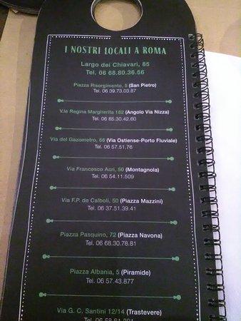 L'Insalata Ricca - Largo dei Chiavari: Dietro al menu i posti dove trovare questo ristorante a Roma