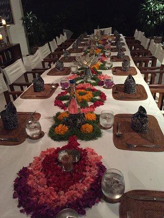 Goddess Retreats: Last night table.