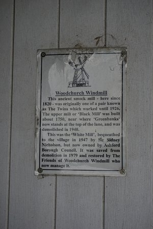 Woodchurch Windmill: information sheet on door