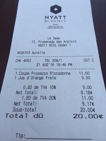 Hyatt Regency Nice Palais de la Mediterranee: Le prix des consommations est tout à fait correct et pas plus élevé que dans certains quartiers