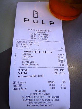 receipt for purchase picture of pulp kuala lumpur tripadvisor