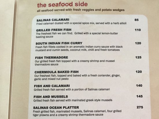 Sample Of Menu - Picture Of Salinas Beach Restaurant, Wilderness