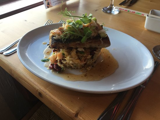 Penryn, UK: East meets west. Yung chow fried rice with hake and crab