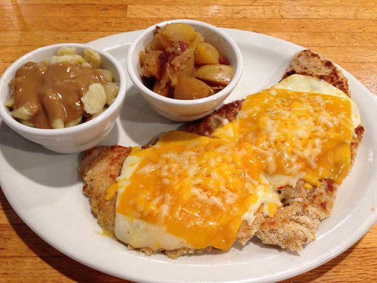 Paola, KS: Kase Schnitzel with Spaetzle and Warm Potato Salad