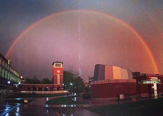 Kirksville, MO: Rainbow over the Del and Norma Robison Planetarium dome, located in Magruder Hall on Truman's ca