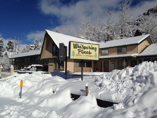 Whispering Pines Motel: Motel front winter