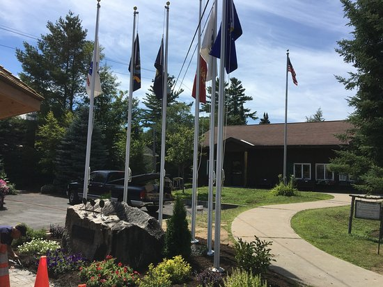 Inlet, NY: Arrowhead Park - flags at memorial