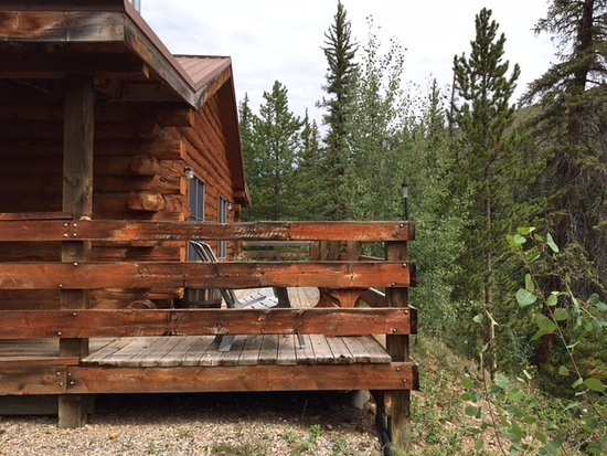 Parshall, CO: deck on back of cabin facing river