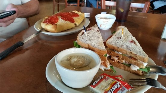 Laurel, MT: Dill pickle soup with turkey sandwich on cranberry bread  plus a calzone