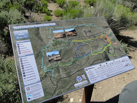 Ward Charcoal Ovens State Historic Park: This sign shows the trails that can be hiked or ridden on with ATVs
