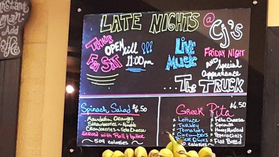 CJ's Coffee Cafe: open late thursday friday and saturday