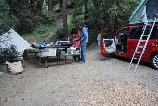 Big Sur Campground & Cabins: set up with your camper van in our campsite