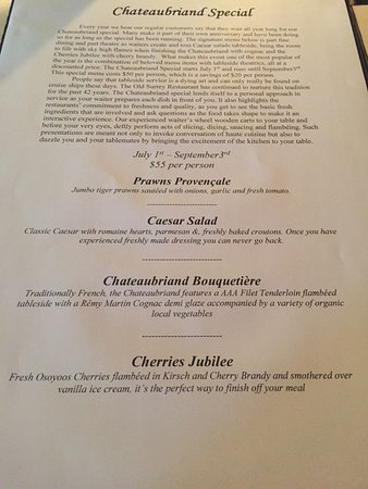 Chateaubriand Special menu - Picture of Old Surrey