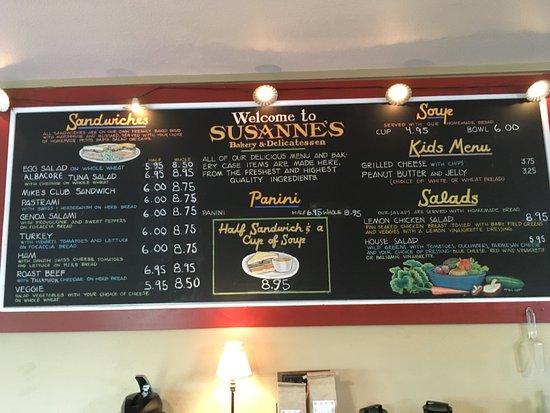 Susanne's Bakery & Deli: Menu boar