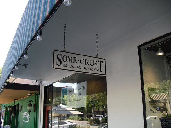Some Crust Bakery: View from the outside sidewalk.