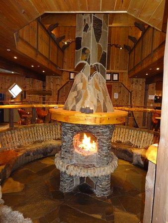 ฟรัมสบริกกาโฮเต็ล: The fire in the micro brewery bar and restaurant.